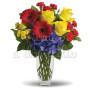 Bouquet di rose, gerbere, garofani e crisantemi