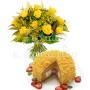 Torta mimosa con bouquet di 12 rose gialle e mimosa