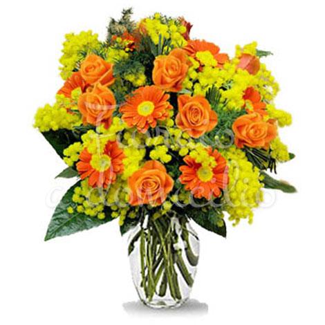 bouquet-di-gerbere-arancio-con-mimosa