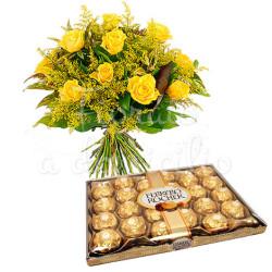 bouquet-di-rose-gialle-mimosa-ferrero-rocher