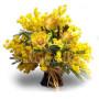 Tre Rose gialle con Mimosa