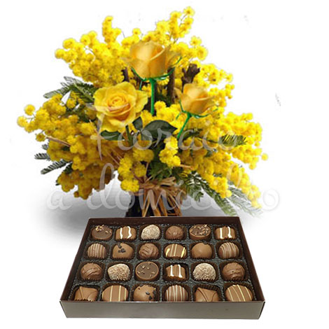 tre-rose-gialle-mimosa-scatola-cioccolatini